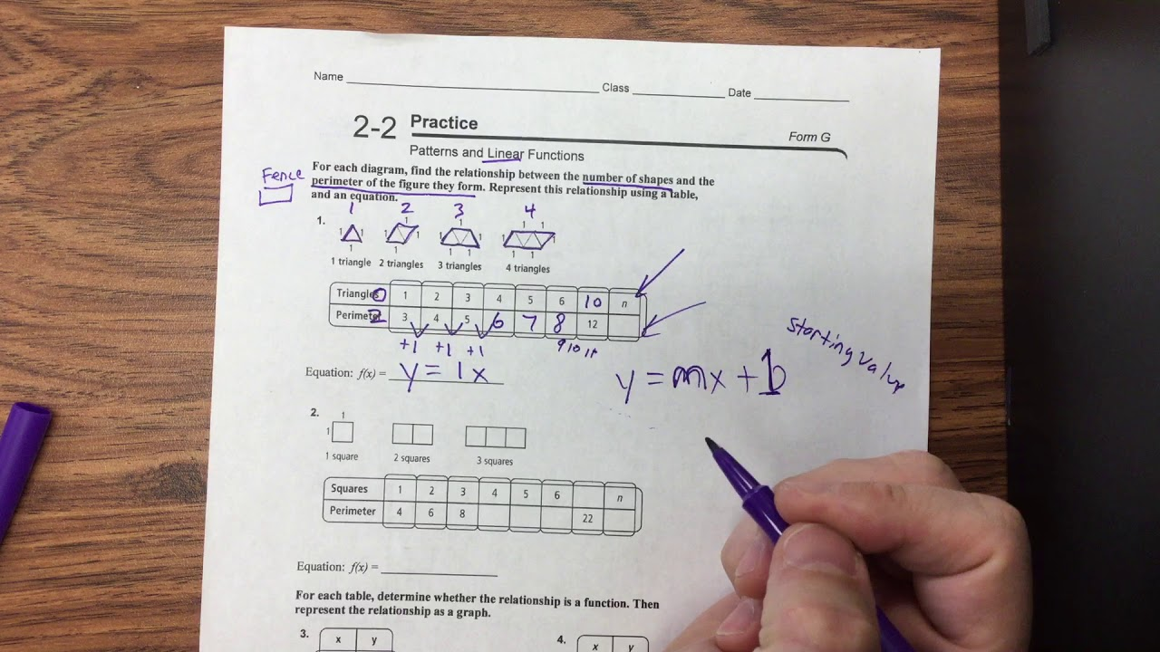 2-2 Practice: Patterns and Linear Functions - YouTube