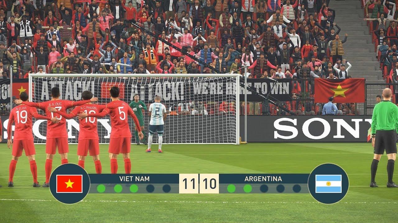 VIETNAM vs ARGENTINA - PENALTY SHOOTOUT - Messi vs Quang Hai - PES19