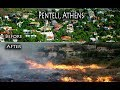 Penteli forest fire, before and after, Πεντέλη, , forest fires near Athens in Greece,