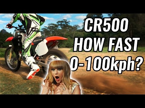 Honda CR500 Big Bore 2 Stroke MX Bike 0-100kmh Acceleration Test Rev Holeshot