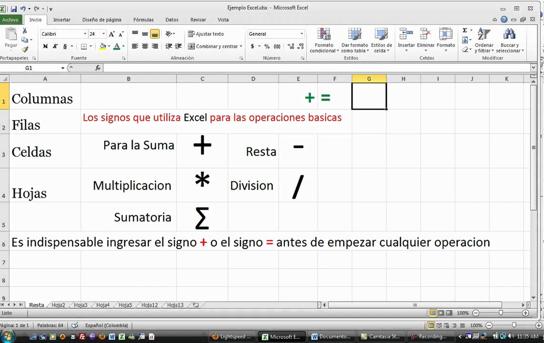 Excel Suma Resta Multiplicacion Division Sumatoria Columna Fila Hoja ...
