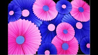 Party decorations with paper Rosettes / Paper Fan || How to make Paper Fan || Hand Fan ||Craftastic
