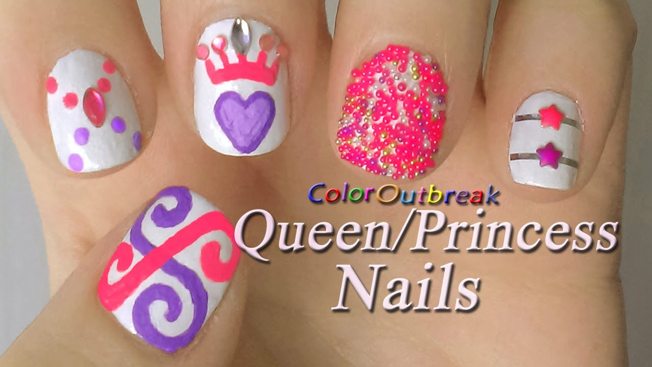 Prom Queen Princess Nail Art Designs Swirls Dots Rhinestones Heart Crown Caviar And Stars You