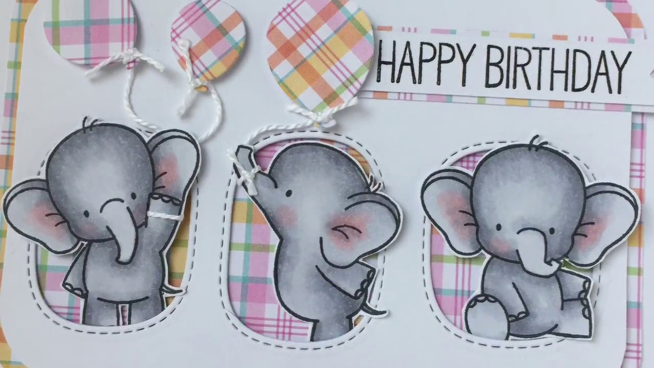 Adorable Elephants Happy Birthday Card