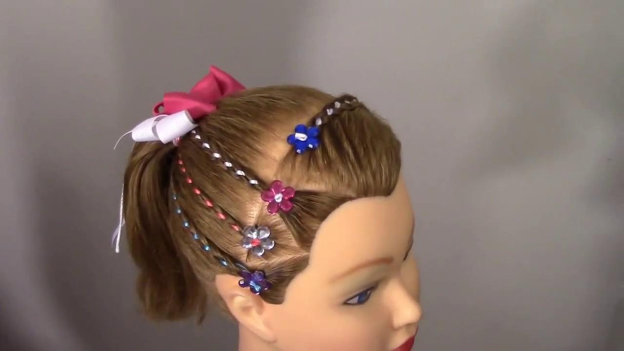 Como hacer un peinado facil con cintas para ni a how to - Hacer tocador para nina ...