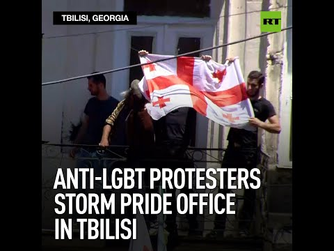 Anti-LGBT protesters storm pride office in Tbilisi