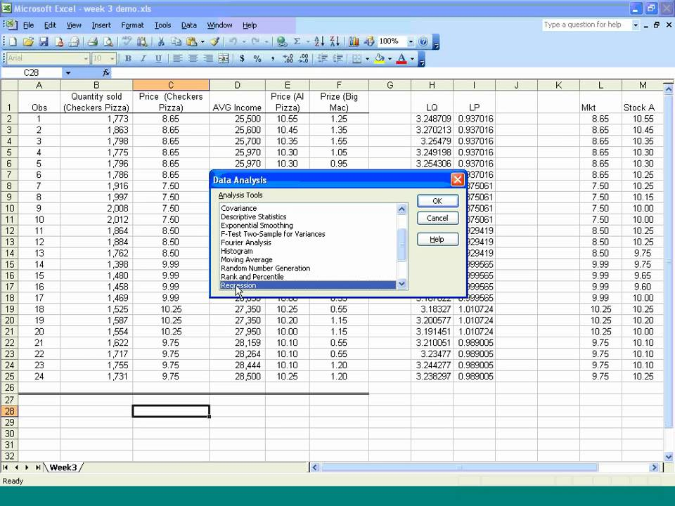 how to get regression analysis excel