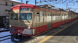 西武新101系(赤色塗装) 雪の是政駅を発車!