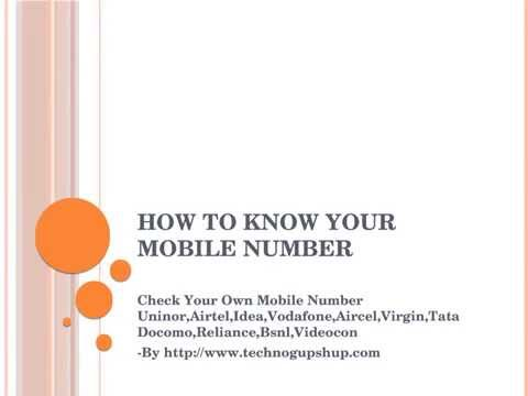 Check Your Own Mobile Number Uninor Airtel Idea Vodafone Aircel Virgin Tata Docomo