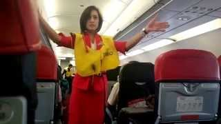 Air Asia beautiful stewardess    show Pre_flight safety demo