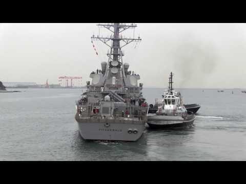 USS Fitzgerald Departs Yokosuka, Japan (File)