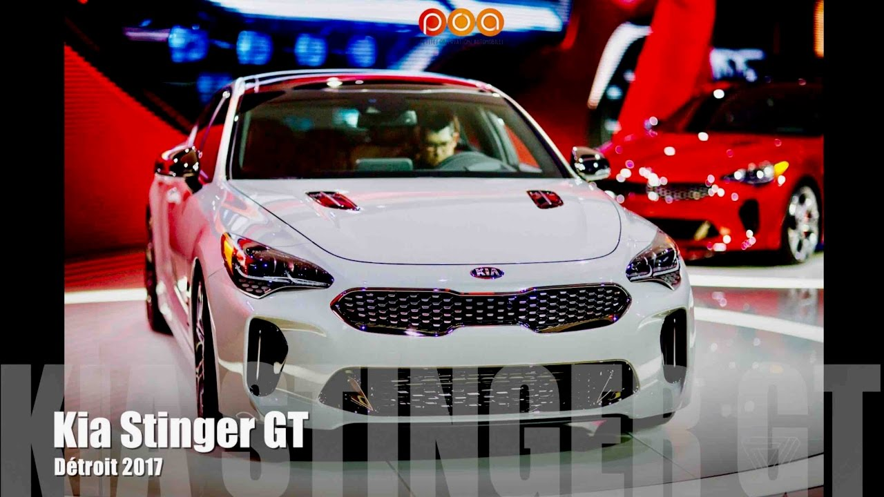 nouvelle kia stinger gt 2018 salon automobile de detroit 2017 youtube. Black Bedroom Furniture Sets. Home Design Ideas