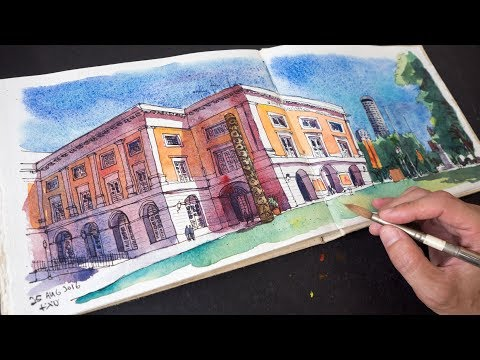Asian Civilisation Museum Watercolour Sketch Timelapse (Part 2/2)