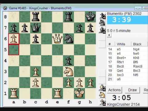 Philidor: Improved Hanham variation (B07) : LIVE Blitz Chess #194 vs FM Blumento (2302) -