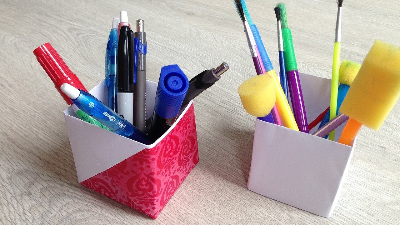 Pen Stand Designs For Kids : Origami pencil holder paper