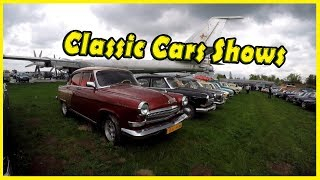 Old and Classic Cars Shows in Kiev, Ukraine 2018. Vintage Soviet Vehicles: Gaz, Volga, Zaz, Lada