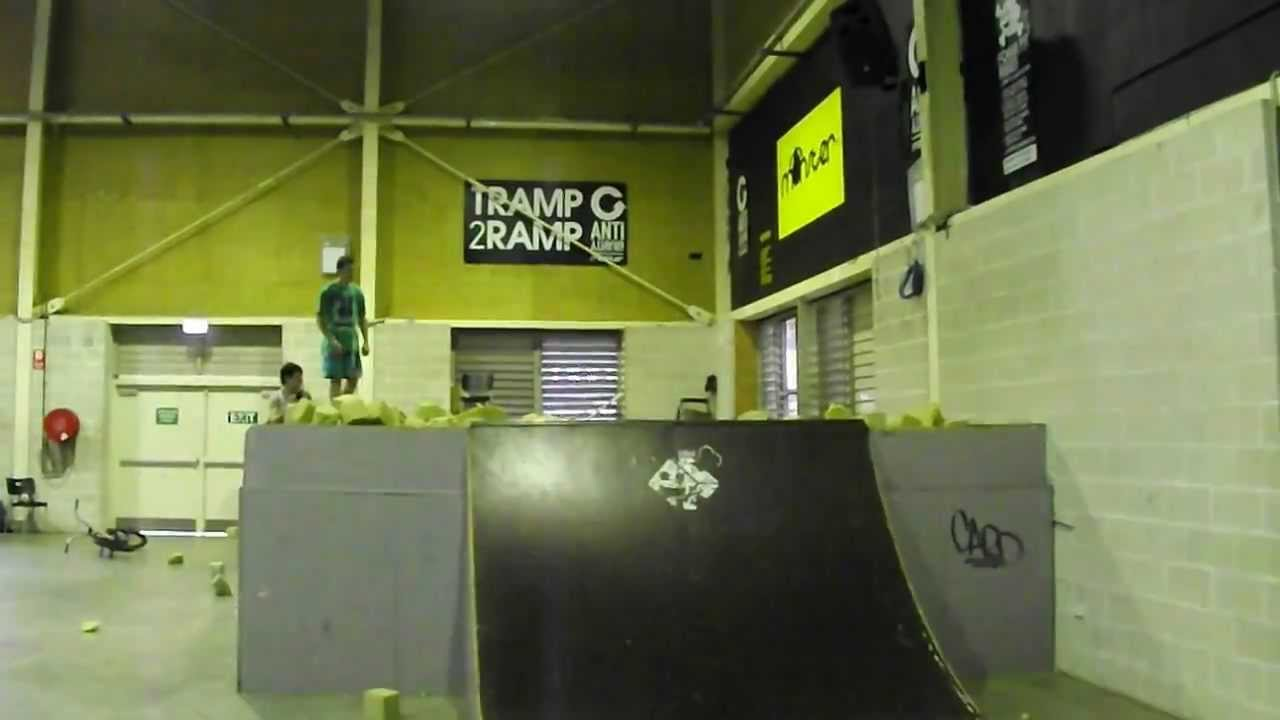 Monster Skatepark Foam Pit Flip Attempt