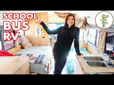 School Bus Conversion into Tiny Mobile Home that Runs on Waste Vegetable Oil