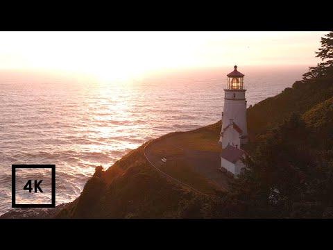 Ocean Sounds for Sleeping on the Oregon Coast, Heceta Head Lighthouse | 4k ASMR