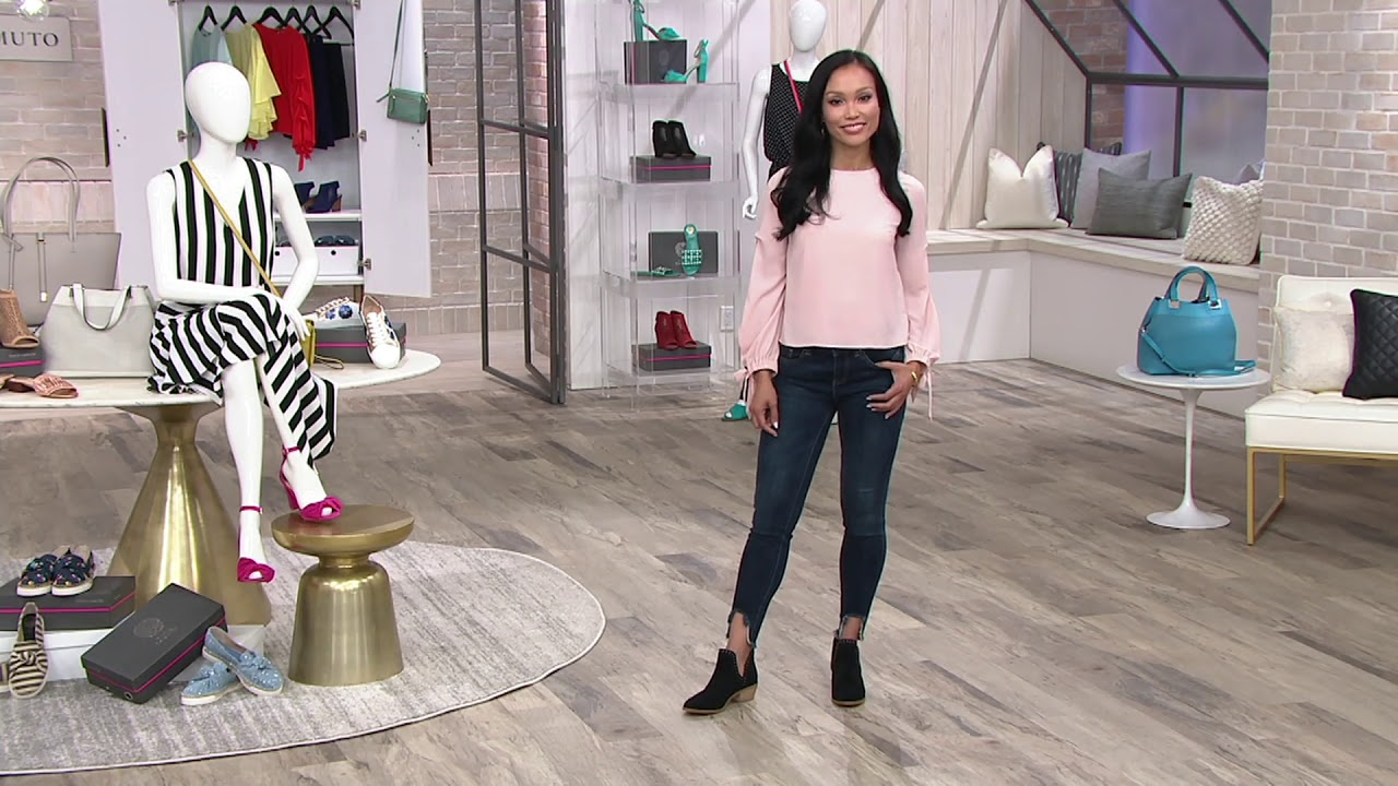 e180c3749d52 Vince Camuto Leather Exposed Ankle Booties - Prafinta on QVC - YouTube
