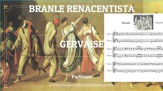 Branle Renacentista. Partitura flauta dulce. Gervaise.
