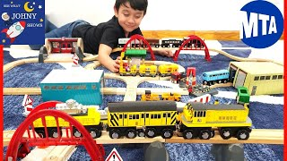 Johny Unboxes Munipals MTA Work Train & Sheds With Subway Train Toys On Brio Wooden Track Layout