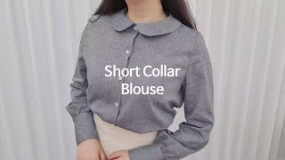 [Sewing Vlog] 숏카라 블라우스 :: Shor…