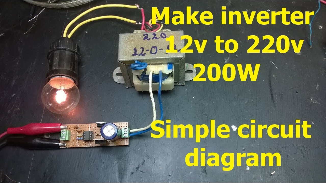make inverter 12v to 220v 200w simple circuit diagram use ic 555 [ 1280 x 720 Pixel ]