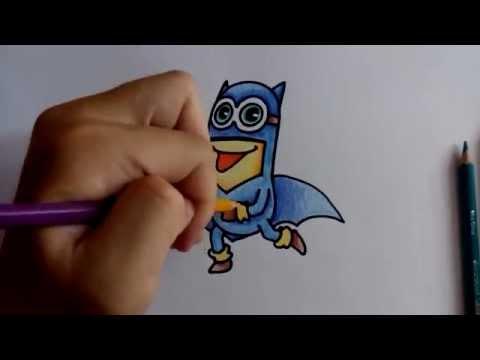วาดรูป ระบายสี มินเนี่ยน Minions แบทแมน batman by วาดการ์ตูน กันเถอะ