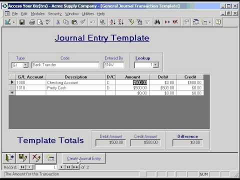 GL General Journal Template - YouTube