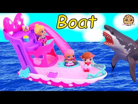Boat Ride ! Lol Surprise Baby Dolls See Ocean Shark Play Toy Video Cookie Swirl C