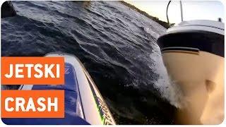 Jet Skier and Boat Crash Head On