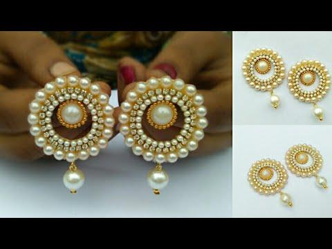 How To Make Designer Pearl Earrings How To Make Paper Earrings