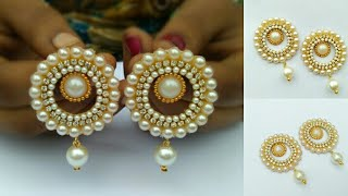 How To Make Designer Pearl Earrings // How To Make Paper Earrings // Paper Jewellery Making //DIY
