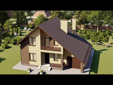 Мансардный дом с гаражом и балконом 148 м2