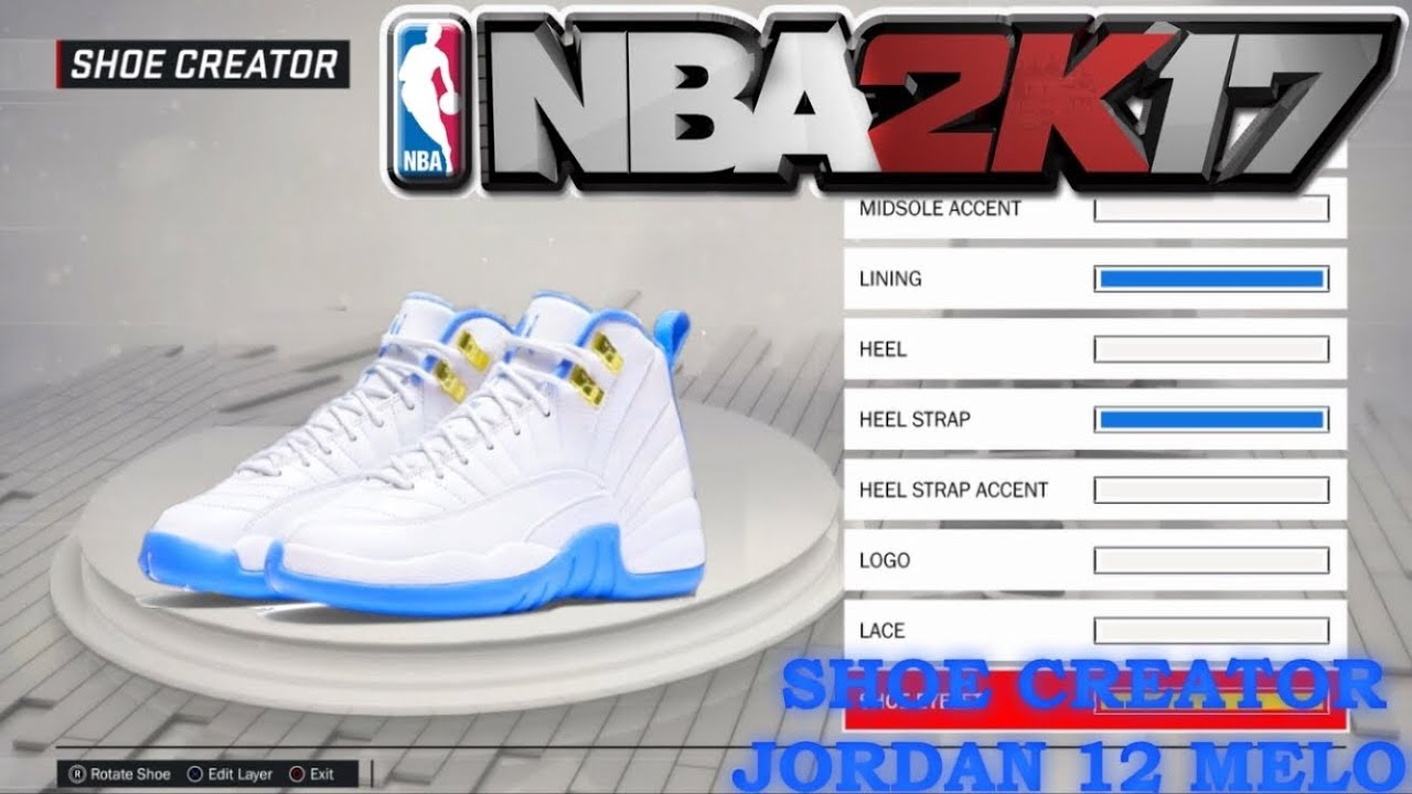 d30ef257c63bb6 how to make blue melo Jordan 12 (2k17) - YouTube