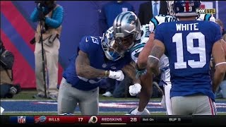 HD: Odell Beckham Jr. vs Josh Norman Helmet to helmet hit after play scuffle