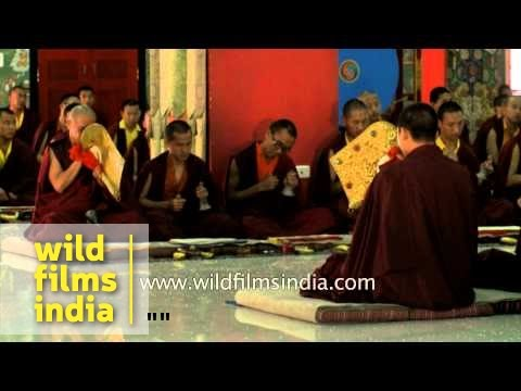 Buddhist Monks blowing ceremonial trumpets or dungchen