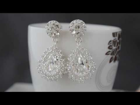 Beaded bridal earrings with Swarovski pears - Andy.Art (Slovakia)