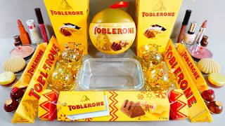 Toblerone chocolate slime mixing with glitter and eyeshadow  ASMR satisfying slime video 144