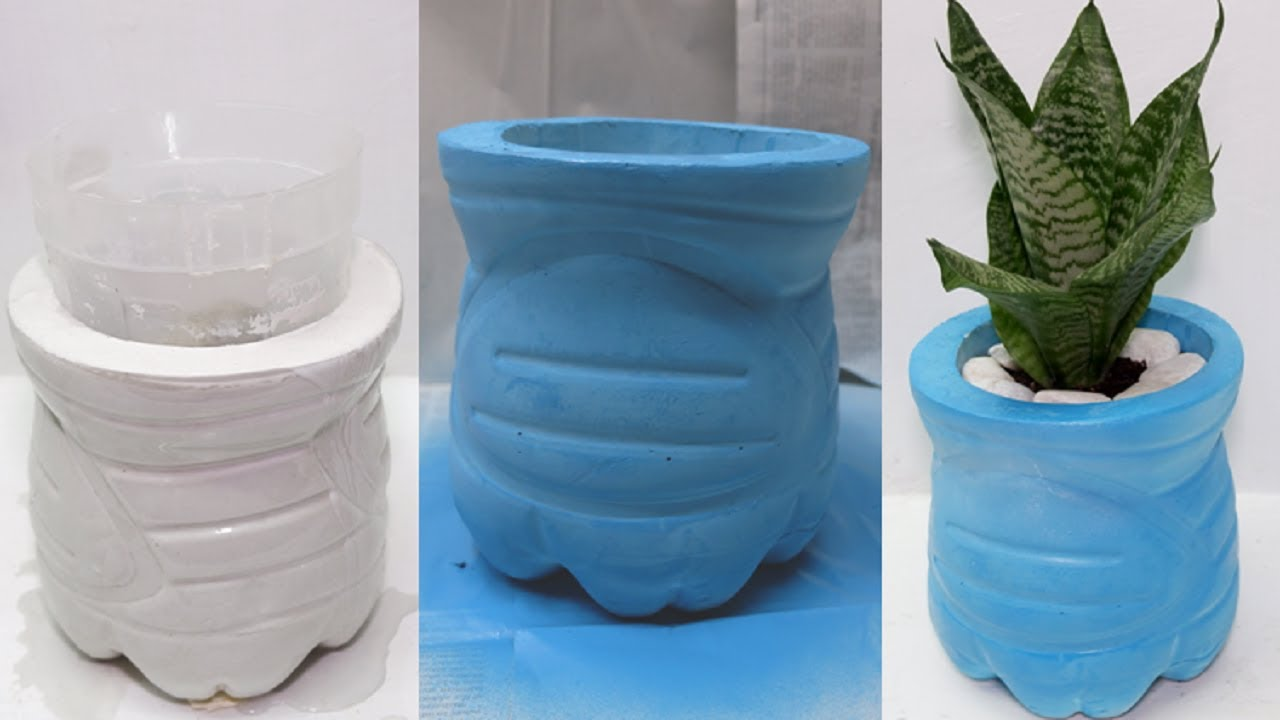 How to Make Easy Cement Pot Using Recycled Plastic Bottles