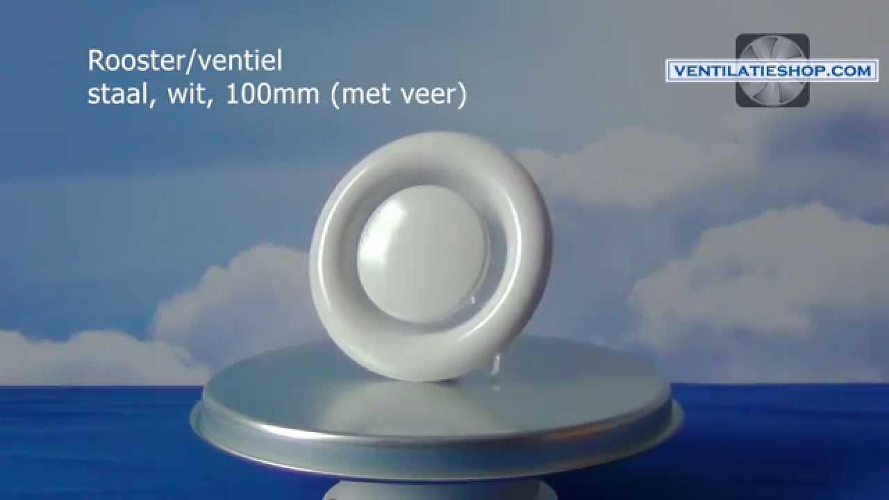 Rooster ventiel staal, wit, 100mm met veer - afvoer/afzuiging ...