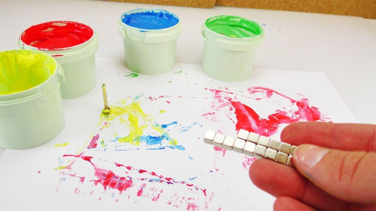 malen wie durch geisterhand kreative ideen f r kinder magneten malerei mit fingerfarben. Black Bedroom Furniture Sets. Home Design Ideas