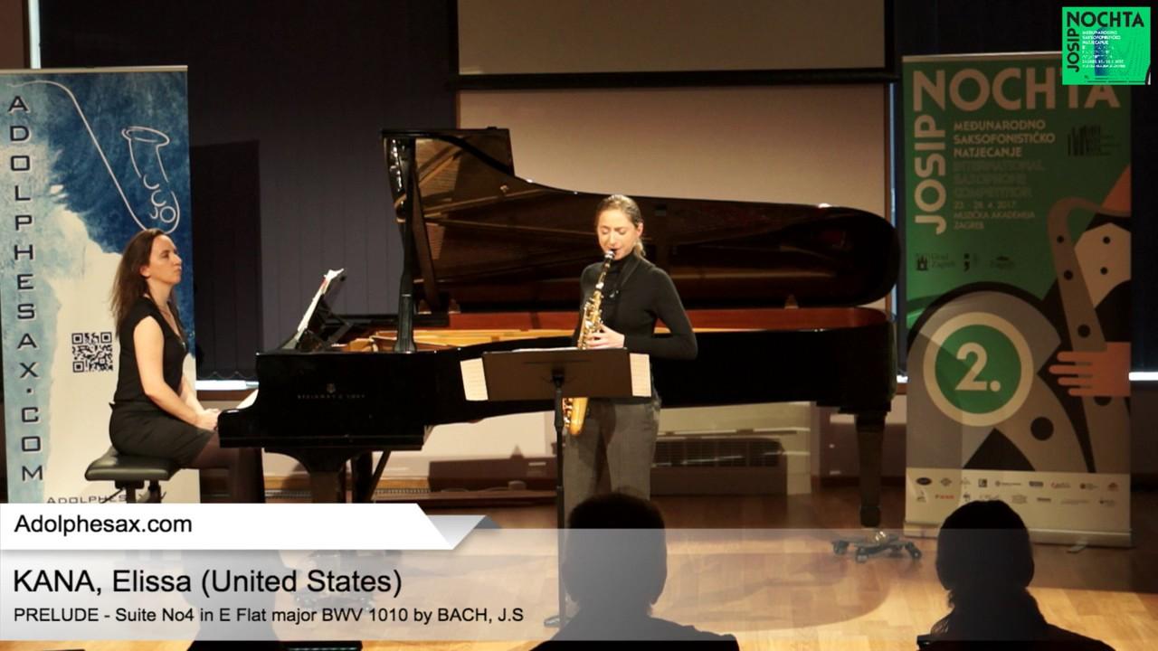 Johann Sebastian Bach  Suite No 4 in E  at major BWV 1010 Pre?lude –  KANA, Elissa USA