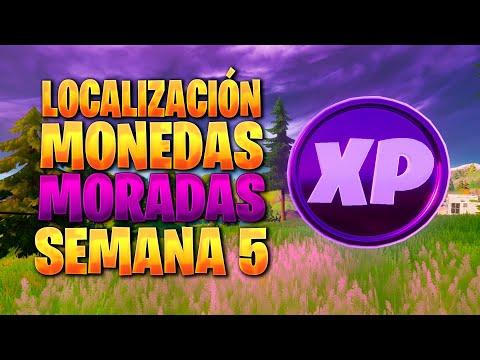 UBICACION DE TODAS LAS MONEDAS DE EXPERIENCIA MORADAS DE LA SEMANA 5 TEMPORADA 4 DE FORTNITE