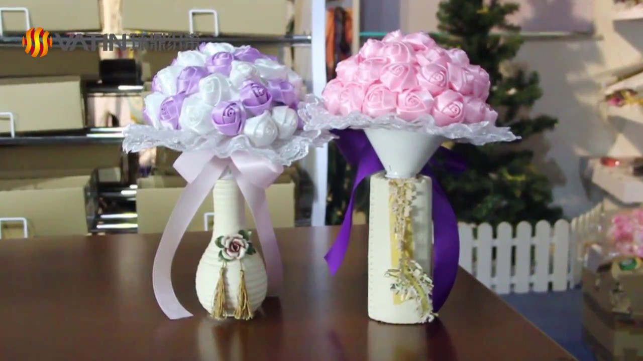 Artificial wedding ribbon flower bouquet from vatin ribbon youtube artificial wedding ribbon flower bouquet from vatin ribbon izmirmasajfo