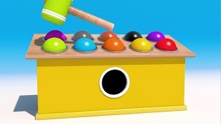 Learn Colors with wooden hammer and 3D Balls
