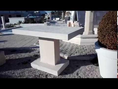 Table en béton à enterrer; aménagement extérieur, aspect décoratif