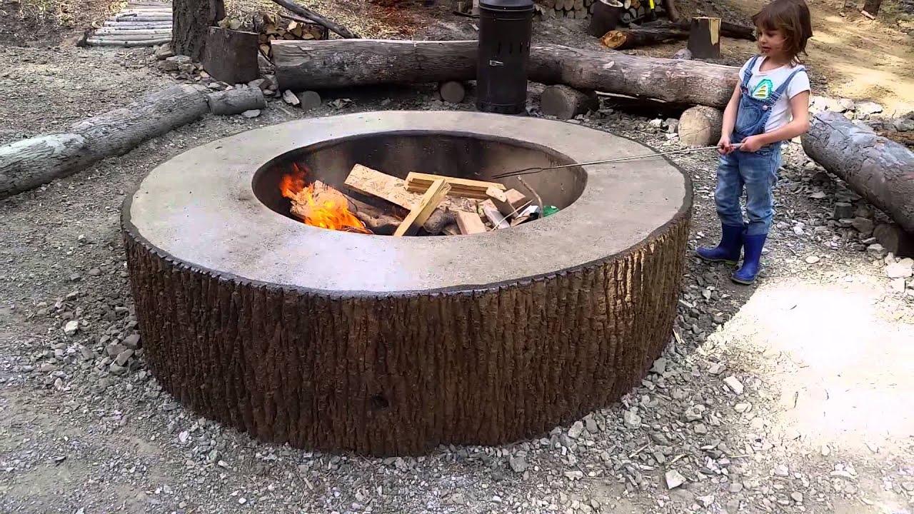 Tree bark concrete firepit stamp mold