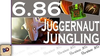 Dota 2 6.86 | Juggernaut Jungle Guide With Commentary | 05:05 Level 6 | Iron Talon Jungling